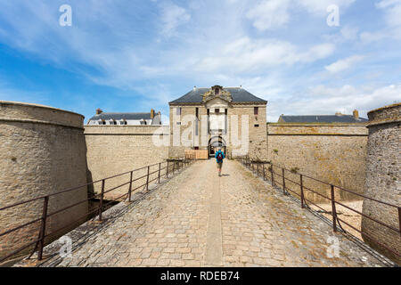 The entrance of the Citadel of Port-Louis (Brittany, north-western France), building located at the entrance tothe harbour of Lorient. We can find the - Stock Photo
