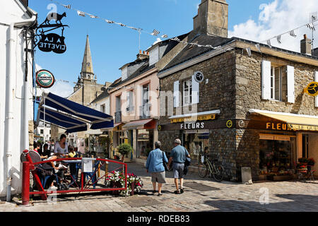 Port Louis (Brittany, north-western France) : frontage of houses in a pedestrian street in the city center - Stock Photo