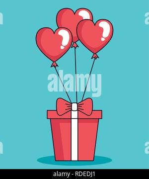 balloons helium in shape heart with gift - Stock Photo