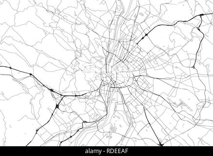 Area map of Budapest, Hungary. This artmap of Budapest contains geography lines for land mass, water, major and minor roads. - Stock Photo
