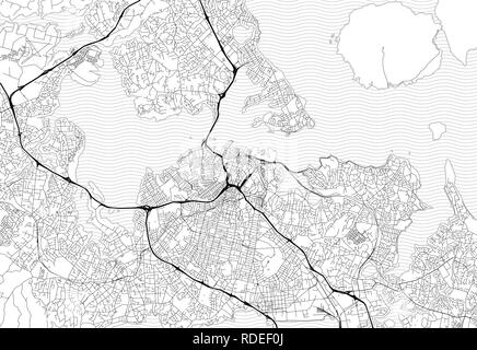 Area map of Auckland, New Zealand. This artmap of Auckland contains geography lines for land mass, water, major and minor roads. - Stock Photo