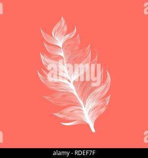 Isolated falling Living Coral color fluffy feather in realistic style. Lightweight Furry Fuzz Icon Design. Vector Graphic Bird Wing Element - Stock Photo