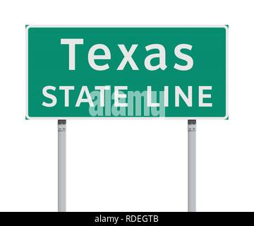 Vector illustration of the Texas State Line green road sign - Stock Photo