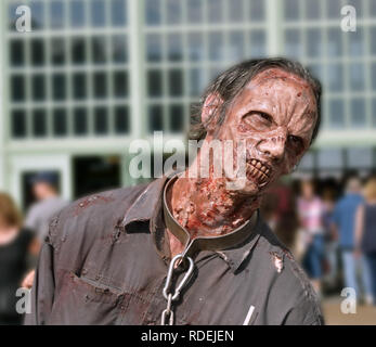 Asbury Park, New Jersey - October 7, 2017: This scary zombie attended the 10th annual Asbury Park Zombie Walk - Stock Photo