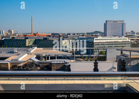 Berlin, Berlin state / Germany - 2018/07/31: Panoramic view of the northern quarters of Berlin with the Campus Charite Mitte Department of Neonatology - Stock Photo