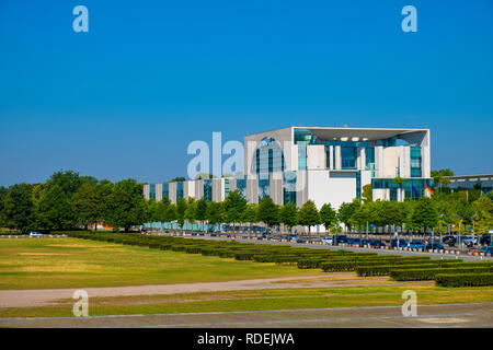 Berlin, Berlin state / Germany - 2018/07/31: Panoramic view of the modern German Chancellery building - Bundeskanzieramt - main office of Chancellor - Stock Photo