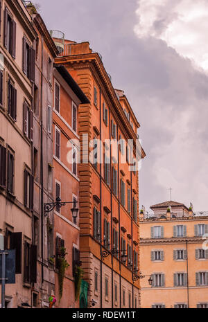 Street view and Mediterranean architecture in Rome, Italy, toned - Stock Photo