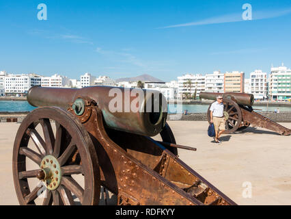 View from San Gabriel castle history museum in Arrecife on Lanzarote, Canary Islands, Spain - Stock Photo