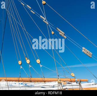 Tall ship rigging. - Stock Photo