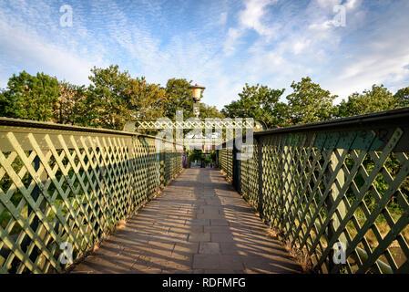 Green steel bridge in Bristol UK - Stock Photo