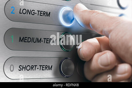 Man pushing an elevator buttons where it is written long term. Investment Concept. Composite image between a hand photography and a 3D background. - Stock Photo
