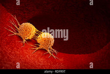 Cancer cell dividing and treatment for malignant cancer cells in a human body caused by carcinogens and genetics with a cancerous cell. - Stock Photo