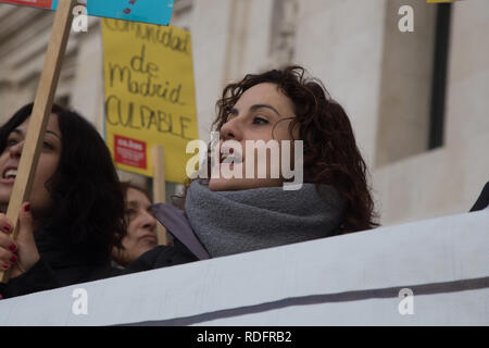 A Protester seen chanting slogans while holding a placard during the protest. Workers and users of Social Samur demand more resources and funding to attend to the social emergencies in Madrid. The Social Samur is a service of the City of Madrid that serves to combat social exclusion in the city. - Stock Photo