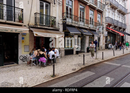 Shops and restaurants in Bairro Alto, Lisbon, Portugal - Stock Photo