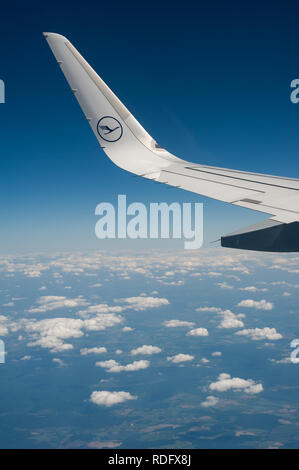 02.06.2017 - Munich, Bavaria, Germany, Europe - On a Lufthansa flight with an Airbus A320 from Berlin to Munich. - Stock Photo