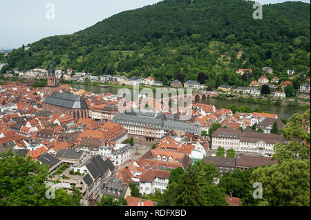 08.06.2017, Heidelberg, Germany, Europe - View from the Heidelberg Castle of the the old city and the Neckar Valley. - Stock Photo