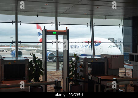 25.06.2018, Singapore, Republic of Singapore, Asia - A British Airways Airbus A380 is docked at its gate at Terminal 1 of Singapore's Changi Airport.  - Stock Photo