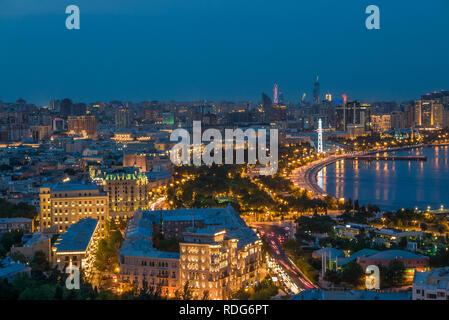 Night view of Baku downtown - Stock Photo