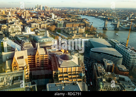 Elevated view of part of London, from the centre looking east towards Canary Wharf. Overlooking St Dunstan's Church, The Tower of London, Tower Bridge - Stock Photo