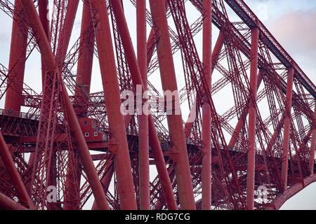 Close up of the structural sections of the Forth bridge in Edinburgh,Scotland,UK - Stock Photo