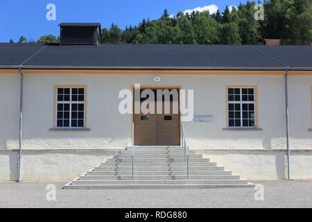 Former barracks in Flossenbuerg Concentration Camp Memorial, district of Neustadt an der Waldnaab, Upper Palatinate, Bavaria - Stock Photo