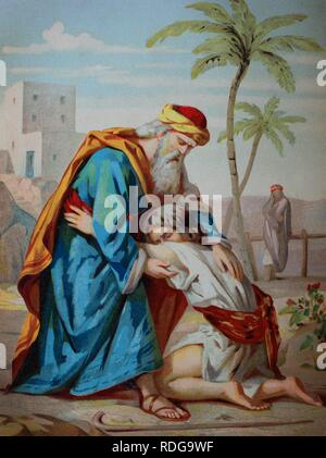 The prodigal son, biblical parable in the Gospel of Luke, chromolithograph from a home bible, 1870 - Stock Photo