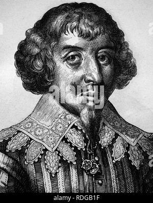 Martin Opitz von Boberfeld, German poet of the Baroque, 1597 - 1639, historical illustration, portrait, 1880 - Stock Photo