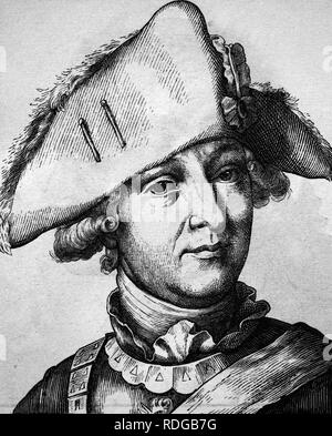 Friedrich Wilhelm, Freiherr von Seydlitz, 1721 - 1773, portrait, historical illustration, 1880 - Stock Photo