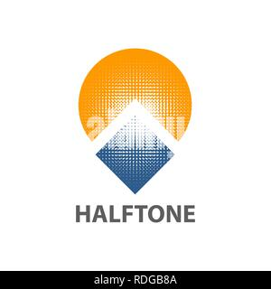 Circle sun square halftone logo concept design. Symbol graphic template element vector - Stock Photo