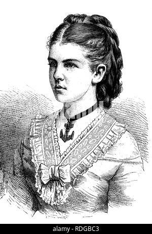 Princess Elizabeth Anna of Prussia, 1857 - 1895, wife of Grand Duke Friedrich August of Oldenburg, historical illustrati on