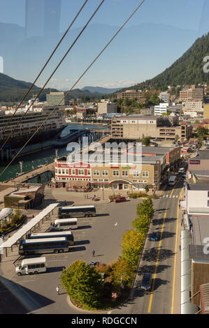 September 14, 2018 - Juneau, Alaska: Late morning aerial view of bus staging and cruise ship area along Franklin Street from Mount Roberts Tram ride. - Stock Photo