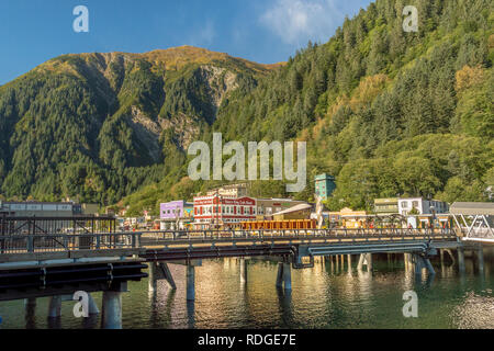 September 14, 2018 - Juneau, Alaska: Waterfront businesses await tourists in historic downtown near cruise ship pier along Franklin Street in Juneau. - Stock Photo