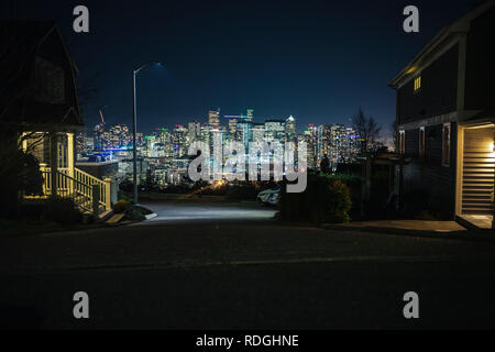 High end real estate housing scenic lookout over cityscape on Queen Anne Hill in Seattle Washington - Stock Photo
