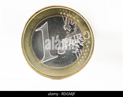 One euro coin on white. Without the map of the united kingdom. Brexit concept - Stock Photo
