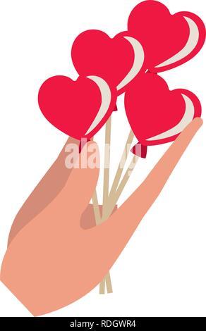hand holding heart balloons isolated icon - Stock Photo