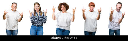 Collage of group of senior people over isolated background shouting with crazy expression doing rock symbol with hands up. Music star. Heavy concept. - Stock Photo