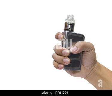 Man holding a big electronic cigarettes or vapor cigarette isolated on white background. - Stock Photo