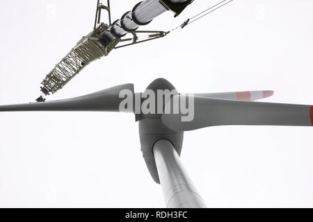 Installation of the rotor blades, setup of a wind turbine on a spoil tip in Scholven, Gelsenkirchen, North Rhine-Westphalia - Stock Photo
