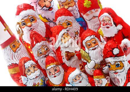 Chocolate Santa Clauses, Santas - Stock Photo