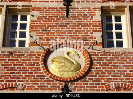 Golden Swan on a house facade, old town, Ghent, East Flanders, Belgium, Europe - Stock Photo