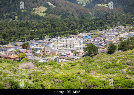 Aerial view of residential neighborhood in the town of Pacifica, Pacific Ocean coast, California - Stock Photo