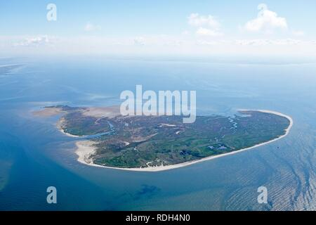 Aerial view, bird sanctuary of Memmert Island, East Frisian Island, East Frisia, Lower Saxony - Stock Photo