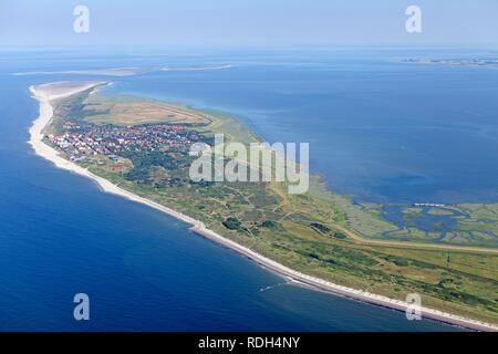 Aerial view, Wangerooge, East Frisian Island, East Frisia, Lower Saxony - Stock Photo
