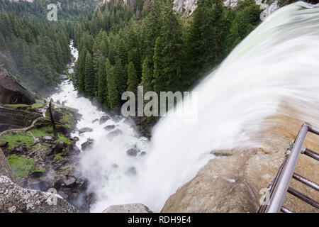 Vernal Falls seen from above, Yosemite National Park, California - Stock Photo