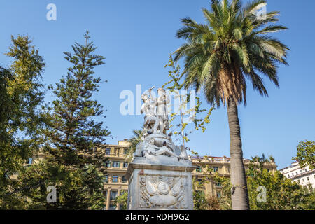 Fountain and monument to American Liberty at Plaza de Armas Square - Santiago, Chile - Stock Photo