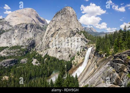 Panoramic view towards Nevada Falls and Liberty Cap, Yosemite National Park, California - Stock Photo