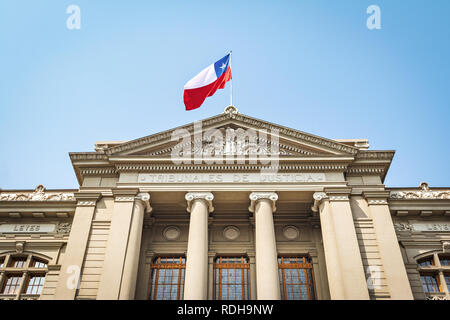 Courts of Justice Palace at Plaza Montt-Varas Square - Santiago, Chile - Stock Photo