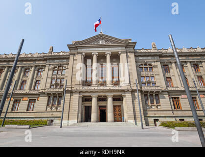 Supreme Court of Chile - Courts of Justice Palace at Plaza Montt-Varas Square - Santiago, Chile - Stock Photo