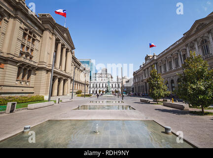 Plaza Montt-Varas Square with Courts of Justice Palace and former Congress - Santiago, Chile - Stock Photo