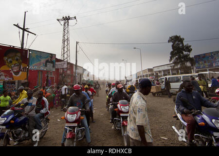 The roads in Goma, North Kivu, Democratic Republic of Congo are dusty, congested, and chaotic. - Stock Photo
